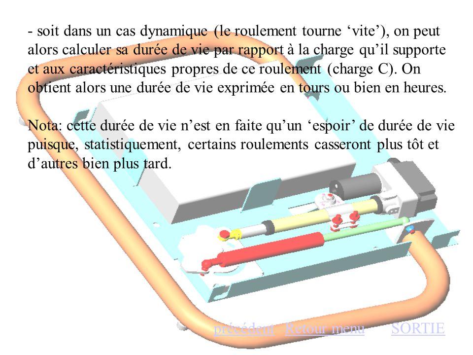 - soit dans un cas dynamique (le roulement tourne 'vite'), on peut alors calculer sa durée de vie par rapport à la charge qu'il supporte et aux caract