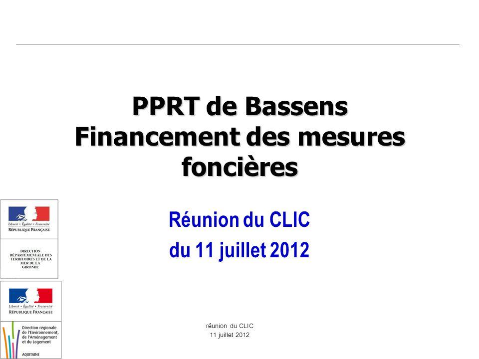 réunion du CLIC 11 juillet 2012 PPRT de Bassens Financement des mesures foncières Réunion du CLIC du 11 juillet 2012