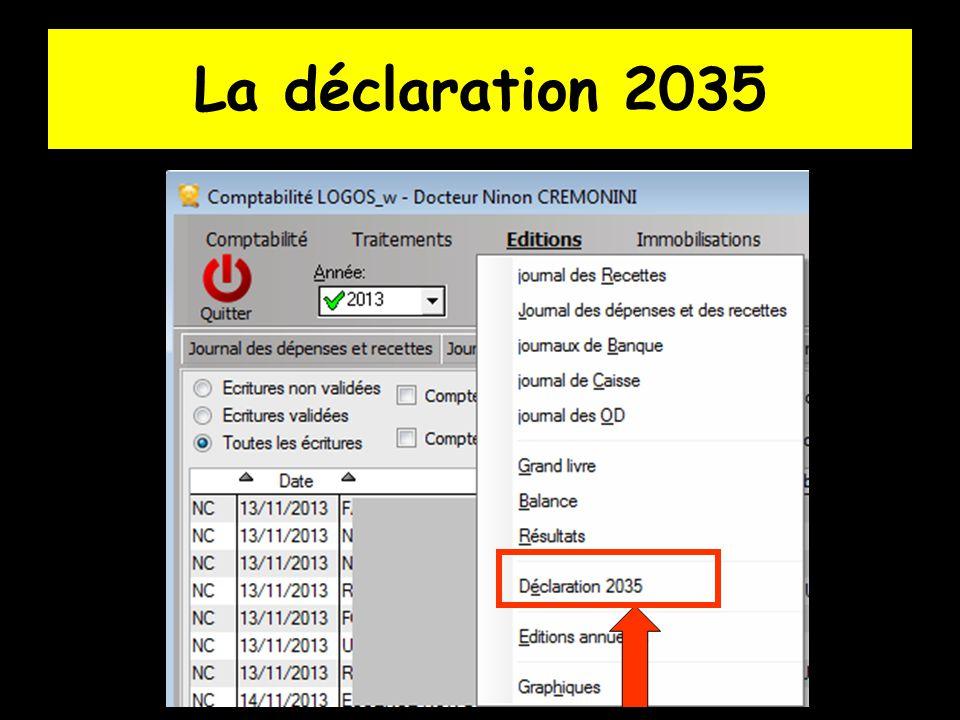  L option déclaration 2035 de la comptabilité vous permet d obtenir un état préparatoire à la déclaration fiscale 2035