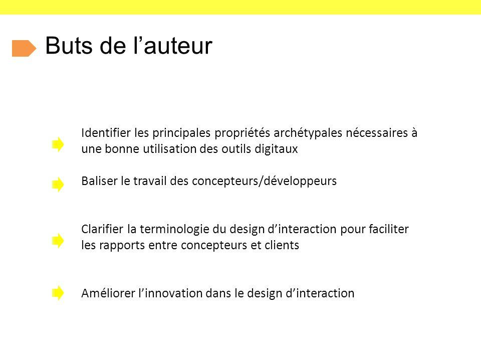 Buts de l'auteur Identifier les principales propriétés archétypales nécessaires à une bonne utilisation des outils digitaux Baliser le travail des concepteurs/développeurs Clarifier la terminologie du design d'interaction pour faciliter les rapports entre concepteurs et clients Améliorer l'innovation dans le design d'interaction