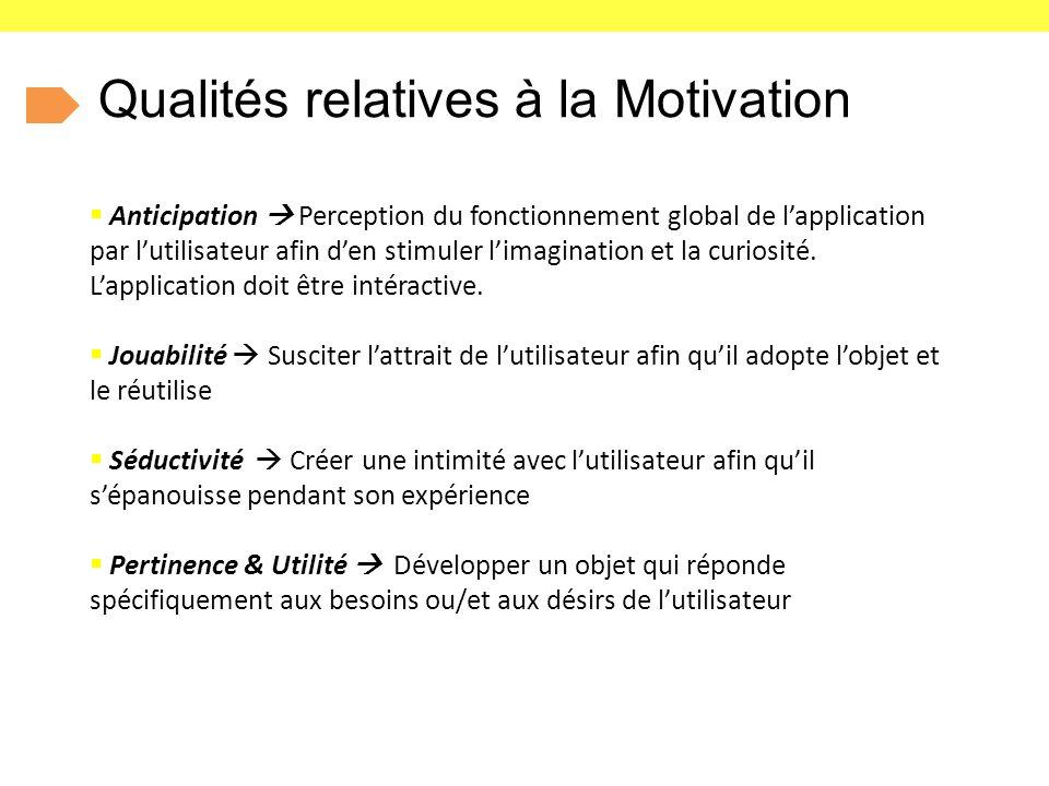 Qualités relatives à la Motivation  Anticipation  Perception du fonctionnement global de l'application par l'utilisateur afin d'en stimuler l'imagination et la curiosité.
