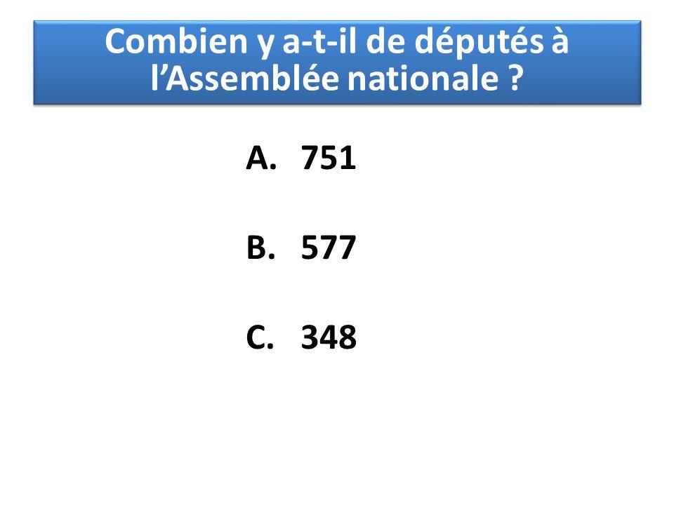 A.751 B.577 C.348 Combien y a-t-il de députés à l'Assemblée nationale ?