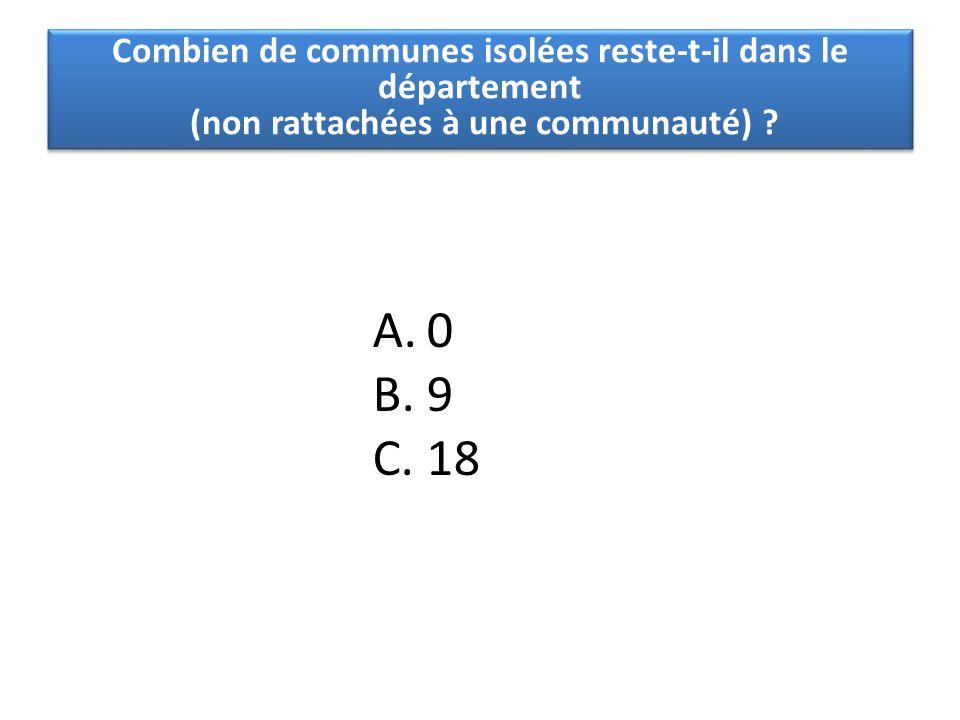 A.0 B.9 C.18 Combien de communes isolées reste-t-il dans le département (non rattachées à une communauté) ?