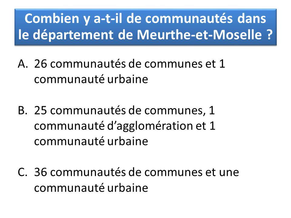 A.26 communautés de communes et 1 communauté urbaine B.25 communautés de communes, 1 communauté d'agglomération et 1 communauté urbaine C.36 communaut