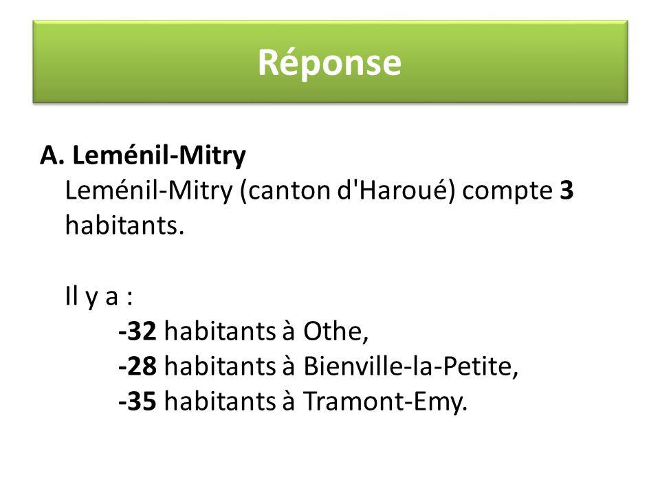 A. Leménil-Mitry Leménil-Mitry (canton d'Haroué) compte 3 habitants. Il y a : -32 habitants à Othe, -28 habitants à Bienville-la-Petite, -35 habitants