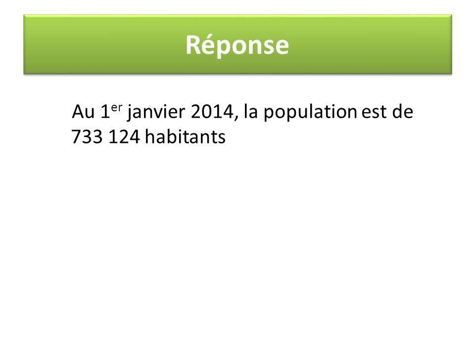 Réponse Au 1 er janvier 2014, la population est de 733 124 habitants