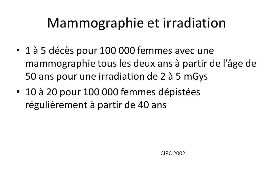 Mammographie et irradiation • 1 à 5 décès pour 100 000 femmes avec une mammographie tous les deux ans à partir de l'âge de 50 ans pour une irradiation