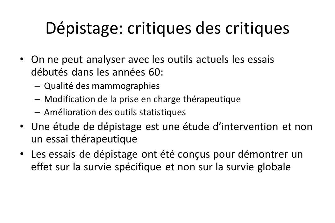 Dépistage: critiques des critiques • On ne peut analyser avec les outils actuels les essais débutés dans les années 60: – Qualité des mammographies –