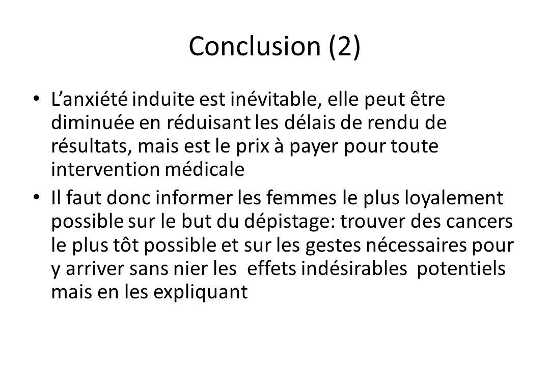 Conclusion (2) • L'anxiété induite est inévitable, elle peut être diminuée en réduisant les délais de rendu de résultats, mais est le prix à payer pou