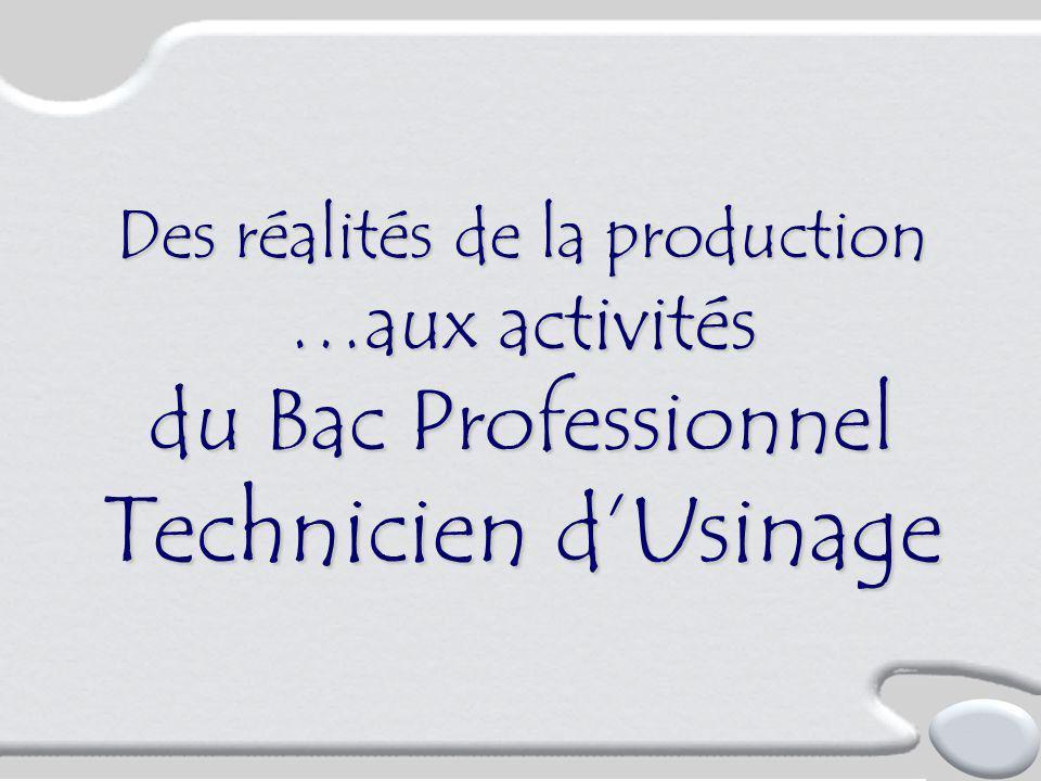 Des réalités de la production …aux activités du Bac Professionnel Technicien d'Usinage