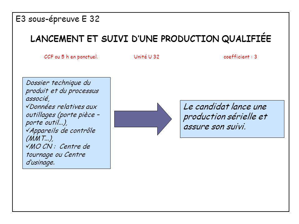 E3 sous-épreuve E 32 LANCEMENT ET SUIVI D'UNE PRODUCTION QUALIFIÉE CCF ou 5 h en ponctuel. Unité U 32coefficient : 3 Dossier technique du produit et d