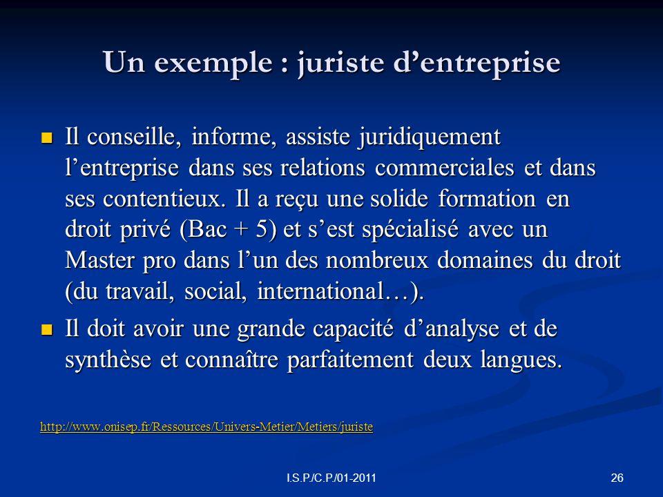 Un exemple : juriste d'entreprise  Il conseille, informe, assiste juridiquement l'entreprise dans ses relations commerciales et dans ses contentieux.