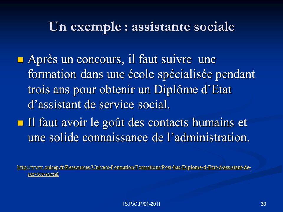 Un exemple : assistante sociale  Après un concours, il faut suivre une formation dans une école spécialisée pendant trois ans pour obtenir un Diplôme d'Etat d'assistant de service social.