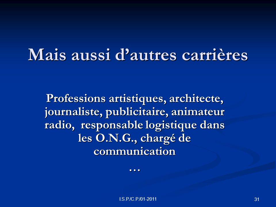 31 Mais aussi d'autres carrières Professions artistiques, architecte, journaliste, publicitaire, animateur radio, responsable logistique dans les O.N.G., chargé de communication …