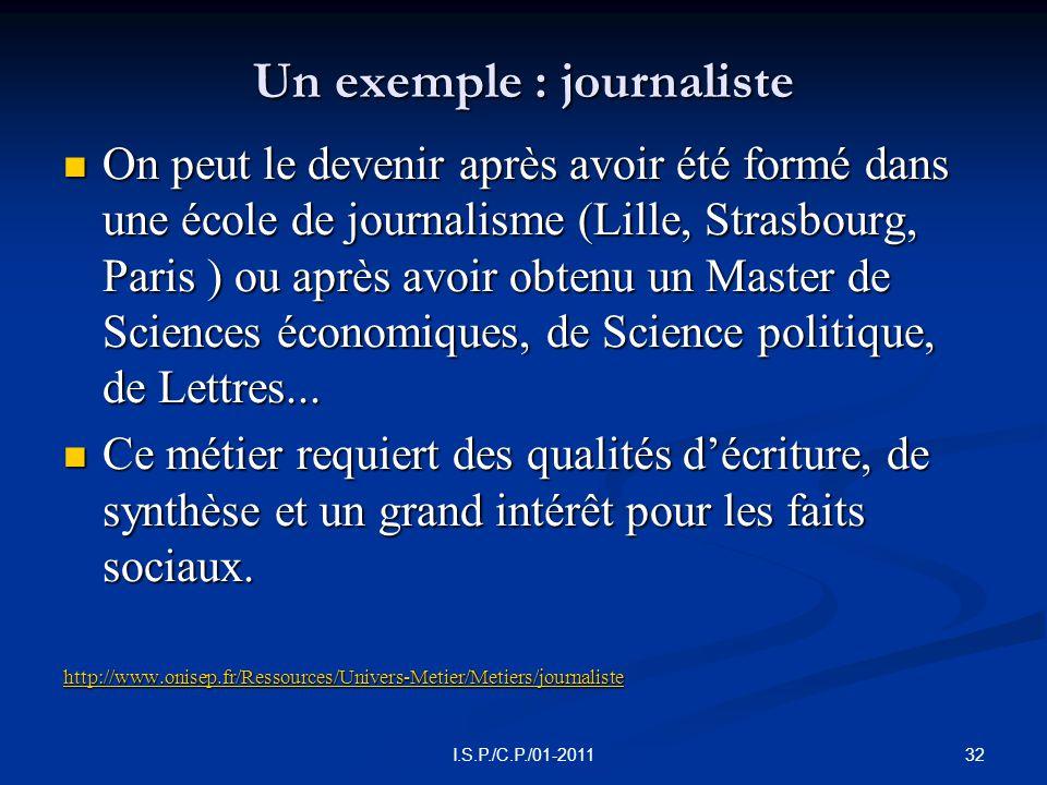 Un exemple : journaliste  On peut le devenir après avoir été formé dans une école de journalisme (Lille, Strasbourg, Paris ) ou après avoir obtenu un Master de Sciences économiques, de Science politique, de Lettres...