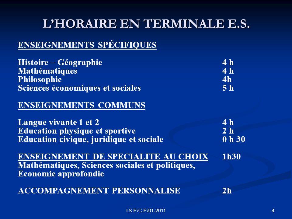 4I.S.P./C.P./01-2011 L'HORAIRE EN TERMINALE E.S.