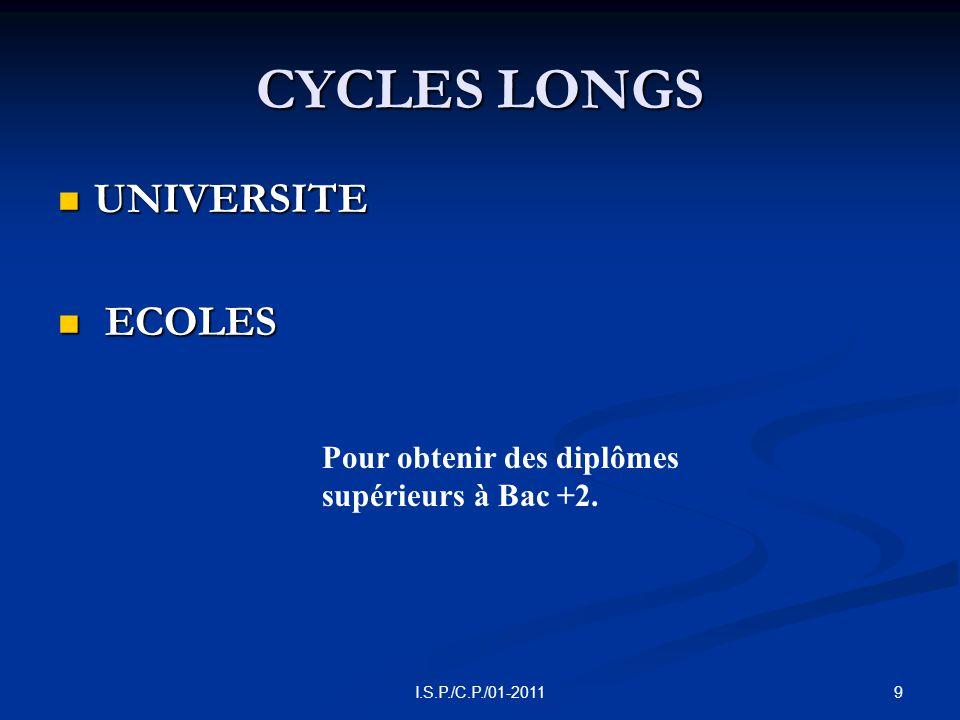 9I.S.P./C.P./01-2011 CYCLES LONGS  UNIVERSITE  ECOLES Pour obtenir des diplômes supérieurs à Bac +2.