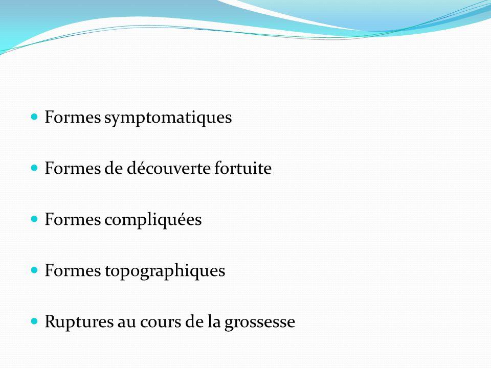  Formes symptomatiques  Formes de découverte fortuite  Formes compliquées  Formes topographiques  Ruptures au cours de la grossesse
