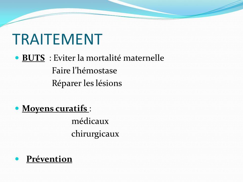 TRAITEMENT  BUTS : Eviter la mortalité maternelle Faire l'hémostase Réparer les lésions  Moyens curatifs : médicaux chirurgicaux  Prévention