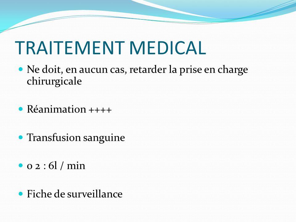 TRAITEMENT MEDICAL  Ne doit, en aucun cas, retarder la prise en charge chirurgicale  Réanimation ++++  Transfusion sanguine  0 2 : 6l / min  Fich