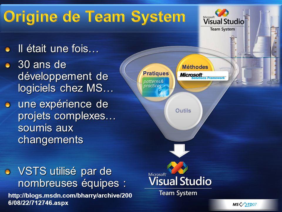 Il était une fois… 30 ans de développement de logiciels chez MS… une expérience de projets complexes… soumis aux changements VSTS utilisé par de nombreuses équipes : http://blogs.msdn.com/bharry/archive/200 6/08/22/712746.aspx