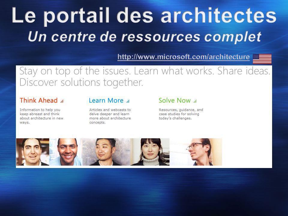 30.000+ lecteurs Traduit en 7 langues Un thème par numéro, le prochain mi-décembre (Software Factory) Une version Française depuis le N°7 (nous les traduisons et relisons pour vous) http://www.microsoft.com/france/msdn/architects/journal.