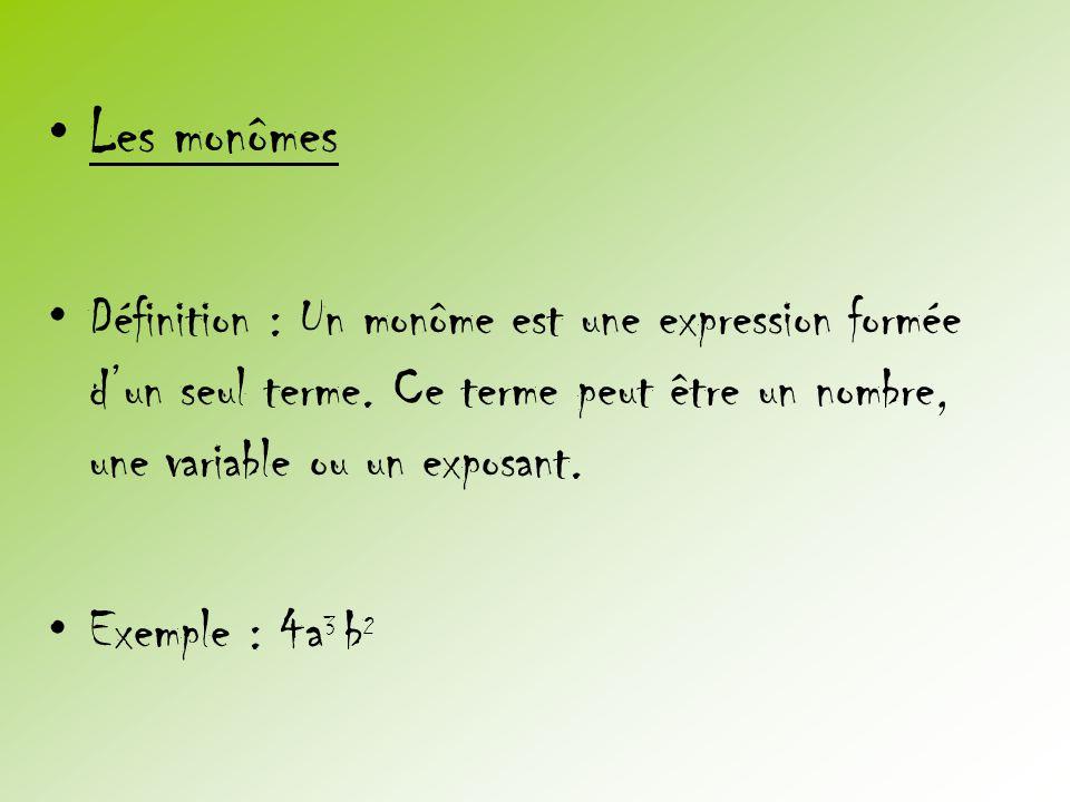 •Les monômes •Définition : Un monôme est une expression formée d'un seul terme. Ce terme peut être un nombre, une variable ou un exposant. •Exemple :