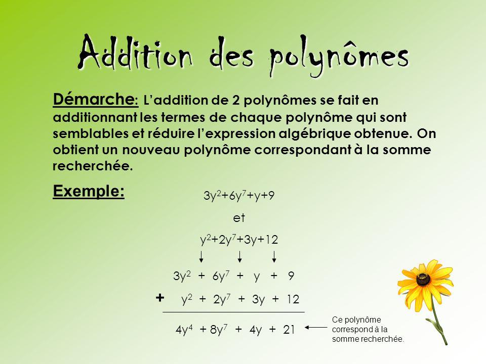 Addition des polynômes 3y 2 +6y 7 +y+9 et y 2 +2y 7 +3y+12 Démarche : L'addition de 2 polynômes se fait en additionnant les termes de chaque polynôme