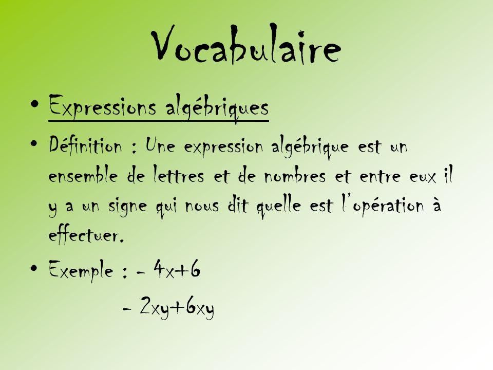 Vocabulaire •Expressions algébriques •Définition : Une expression algébrique est un ensemble de lettres et de nombres et entre eux il y a un signe qui