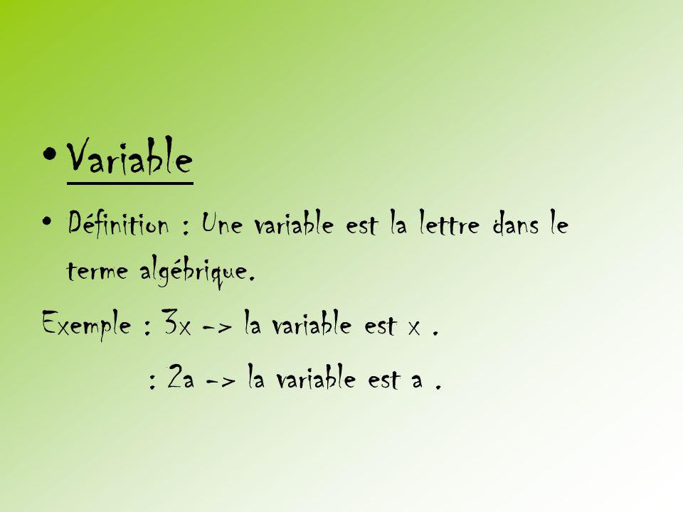 •Variable •Définition : Une variable est la lettre dans le terme algébrique. Exemple : 3x -> la variable est x. : 2a -> la variable est a.