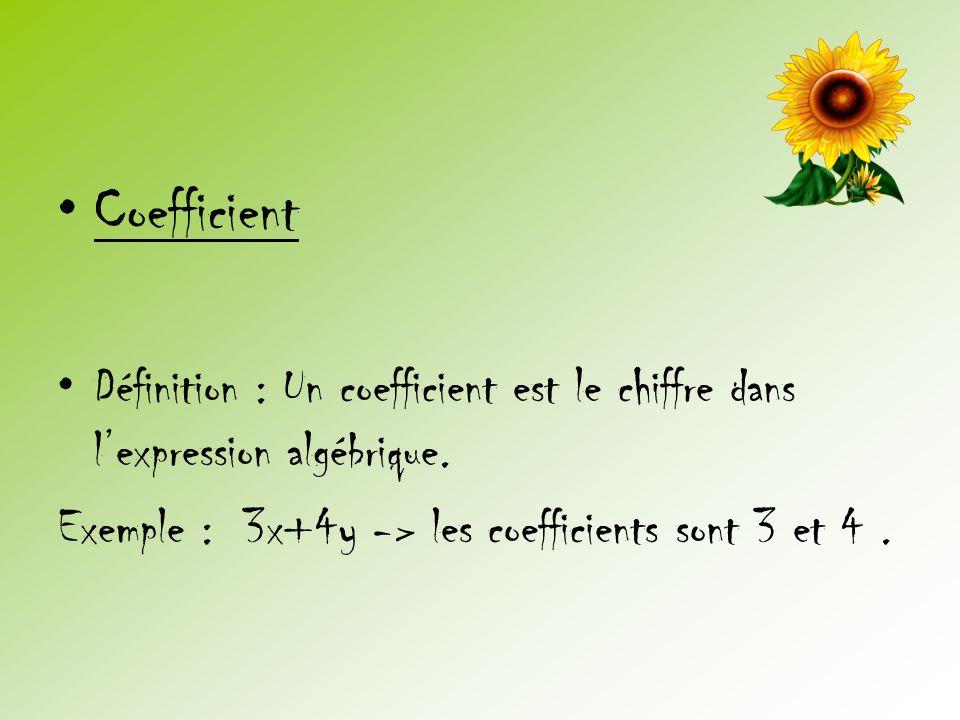 •Coefficient •Définition : Un coefficient est le chiffre dans l'expression algébrique. Exemple : 3x+4y -> les coefficients sont 3 et 4.