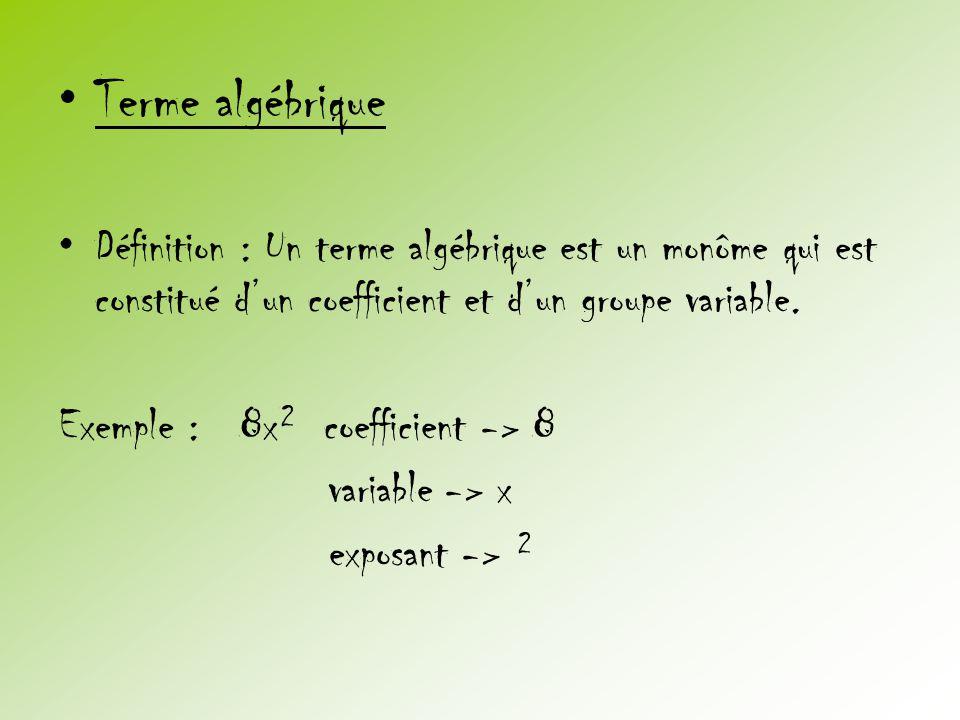 •Terme algébrique •Définition : Un terme algébrique est un monôme qui est constitué d'un coefficient et d'un groupe variable. Exemple : 8x² coefficien