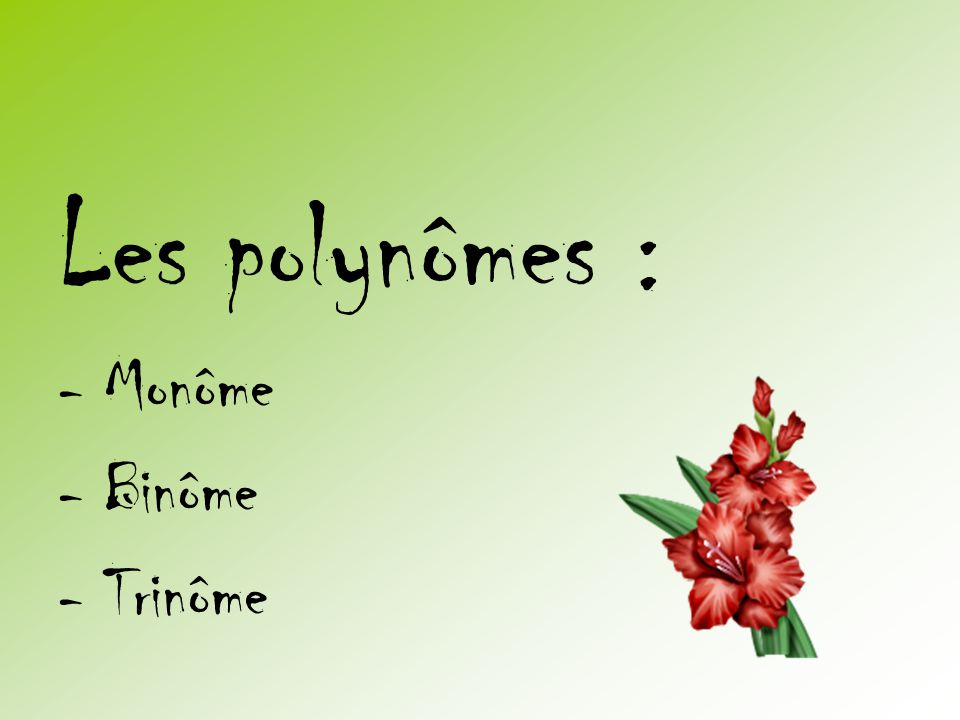 Les polynômes : - Monôme - Binôme - Trinôme