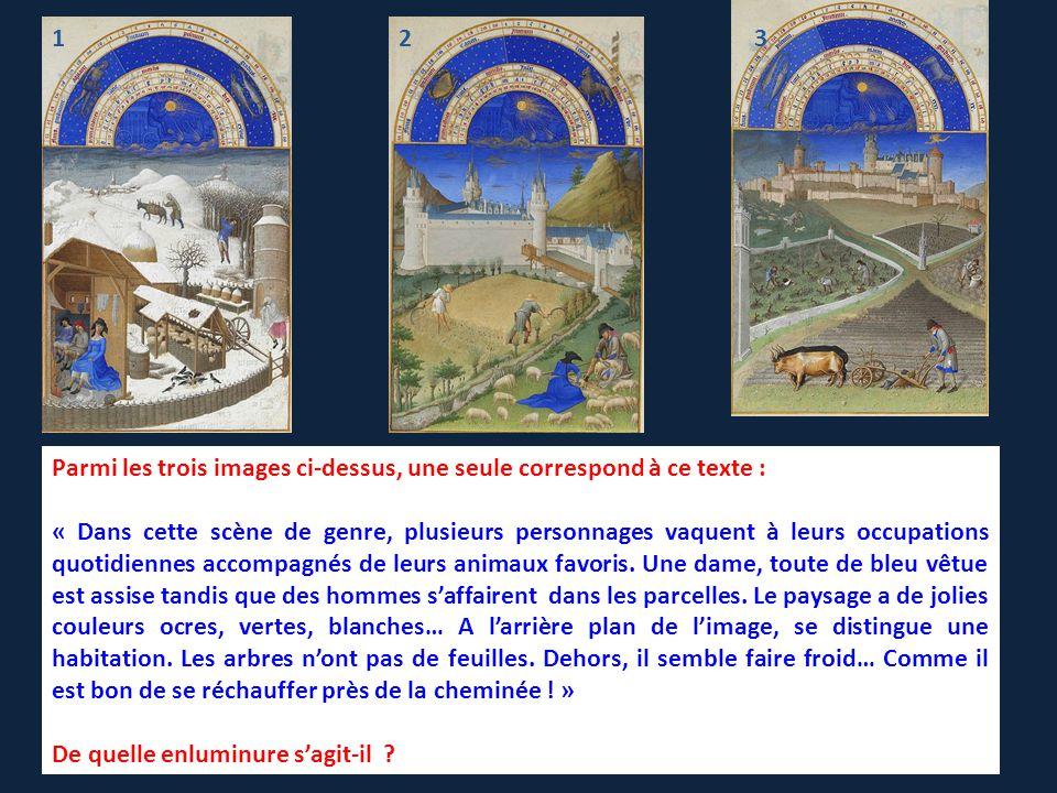 Il s'agit de l'enluminure 1 : Rencontre avec … Le Mois de février, Jean, Pol et Hermann de Limbourg, enluminure extraite des Très Riches Heures du duc de Berry, 1413-1416.