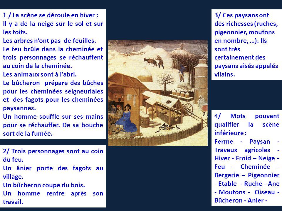 1 / La scène se déroule en hiver : Il y a de la neige sur le sol et sur les toits.