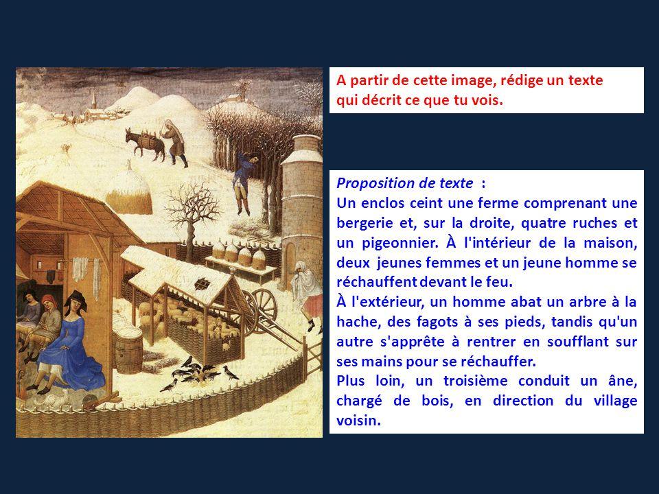 Proposition de texte : Un enclos ceint une ferme comprenant une bergerie et, sur la droite, quatre ruches et un pigeonnier.