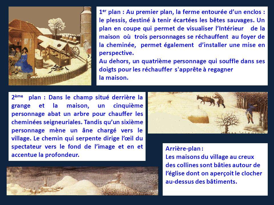 1 er plan : Au premier plan, la ferme entourée d'un enclos : le plessis, destiné à tenir écartées les bêtes sauvages.