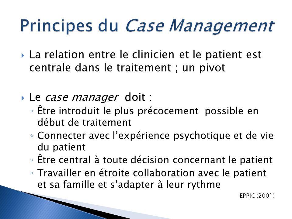  La relation entre le clinicien et le patient est centrale dans le traitement ; un pivot  Le case manager doit : ◦ Être introduit le plus précocemen