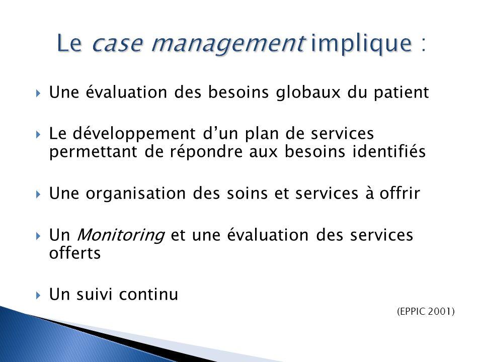  Une évaluation des besoins globaux du patient  Le développement d'un plan de services permettant de répondre aux besoins identifiés  Une organisat