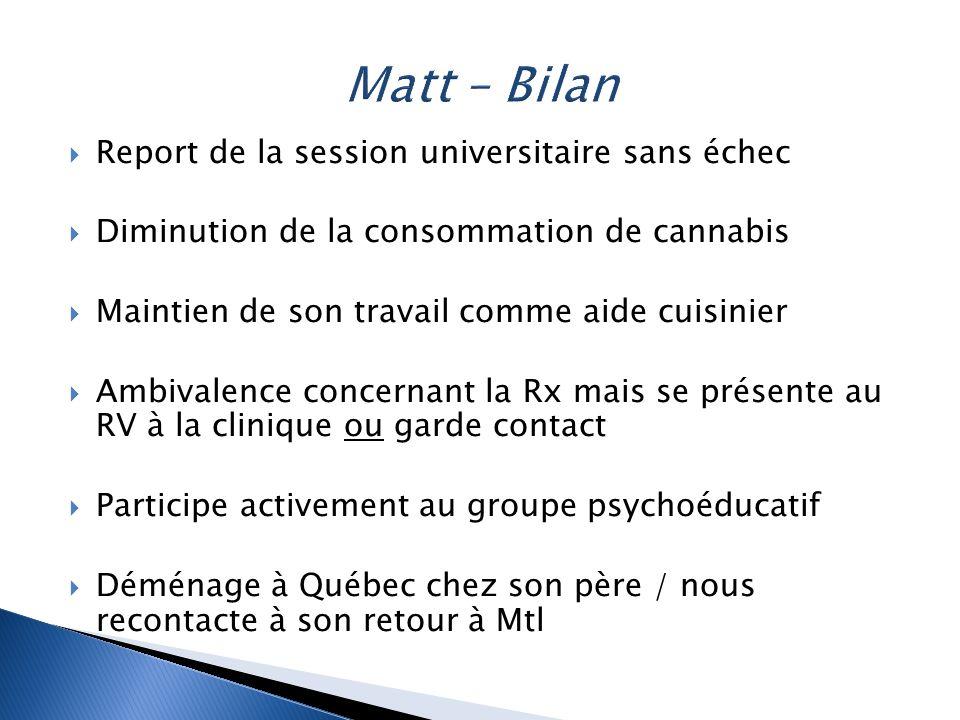  Report de la session universitaire sans échec  Diminution de la consommation de cannabis  Maintien de son travail comme aide cuisinier  Ambivalen