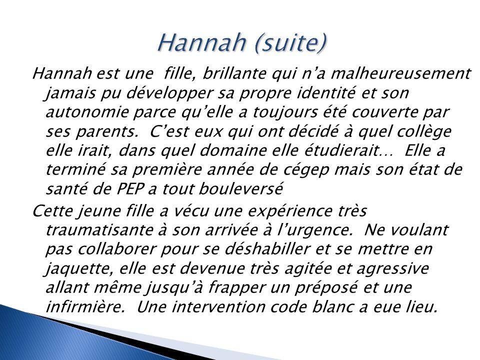 Hannah est une fille, brillante qui n'a malheureusement jamais pu développer sa propre identité et son autonomie parce qu'elle a toujours été couverte