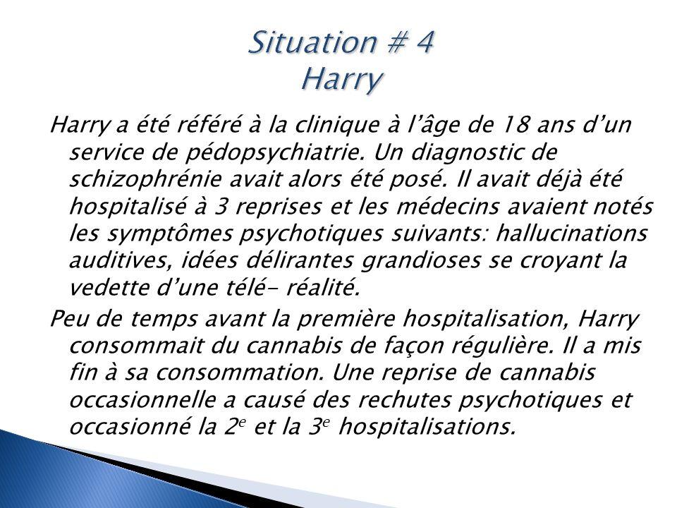 Harry a été référé à la clinique à l'âge de 18 ans d'un service de pédopsychiatrie. Un diagnostic de schizophrénie avait alors été posé. Il avait déjà