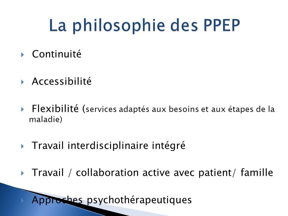  Continuité  Accessibilité  Flexibilité ( services adaptés aux besoins et aux étapes de la maladie)  Travail interdisciplinaire intégré  Travail