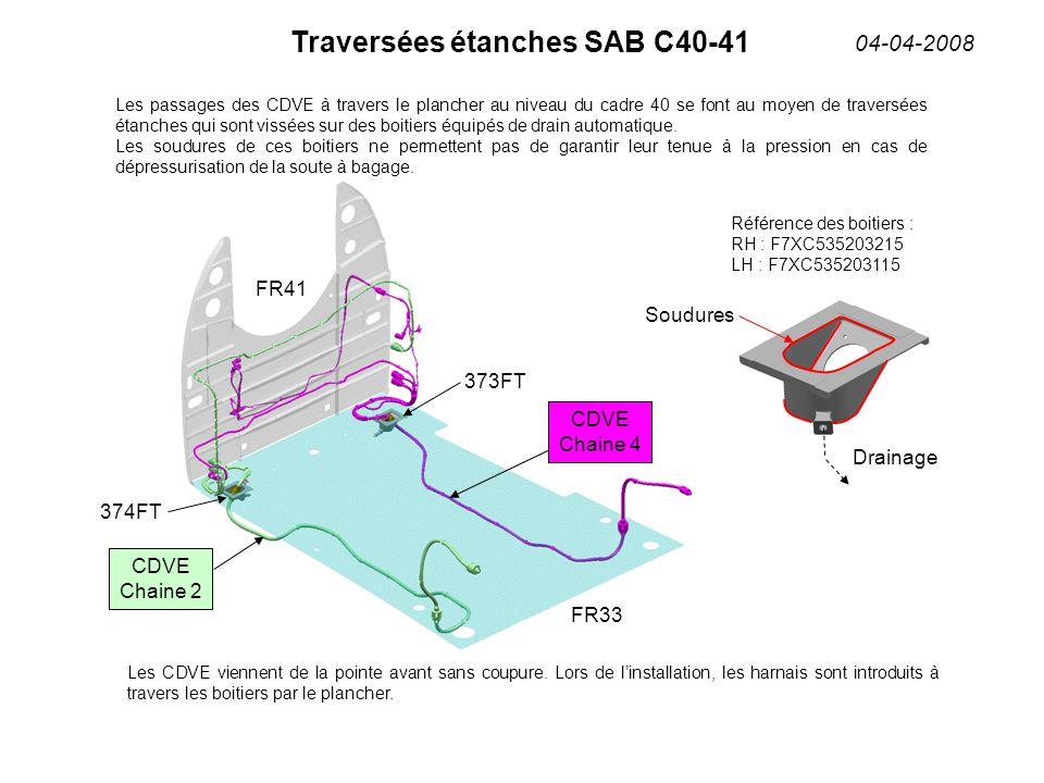 Traversées étanches SAB C40-41 04-04-2008 FR41 FR33 CDVE Chaine 2 CDVE Chaine 4 374FT 373FT Les passages des CDVE à travers le plancher au niveau du cadre 40 se font au moyen de traversées étanches qui sont vissées sur des boitiers équipés de drain automatique.