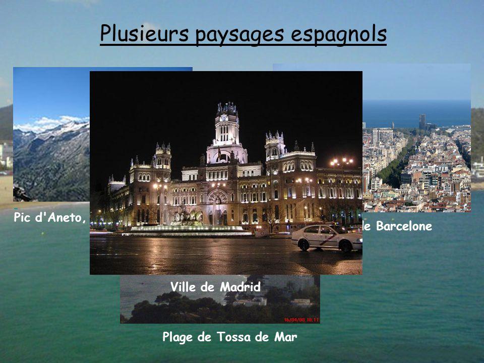 Plusieurs paysages espagnols Pic d Aneto, Pyrénées, Espagne Ville de Barcelone Plage de Tossa de Mar Ville de Madrid