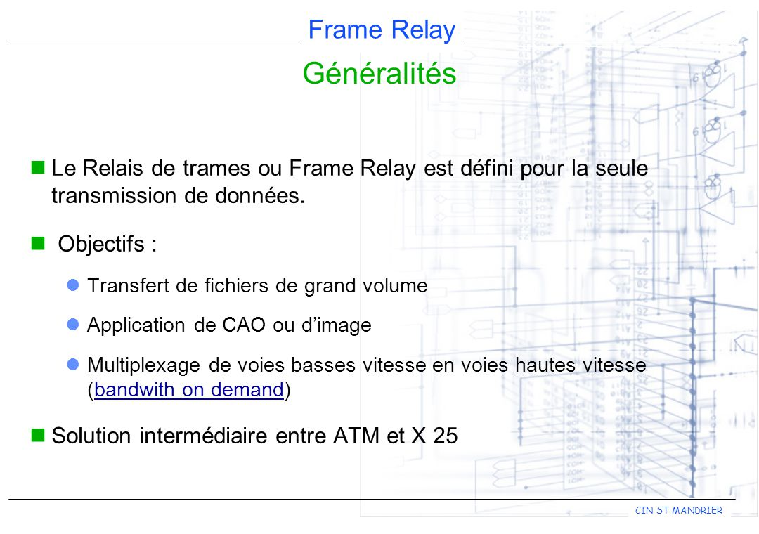 Frame Relay CIN ST MANDRIER Opérateurs haut débit France Télécom British Telecom Cégétel (filiale Compagnie Générale des eaux) Siris (filiale d'Unisource) Air France Télécom MFS Axone (IBM France) Equant TMI (Tele Media International)