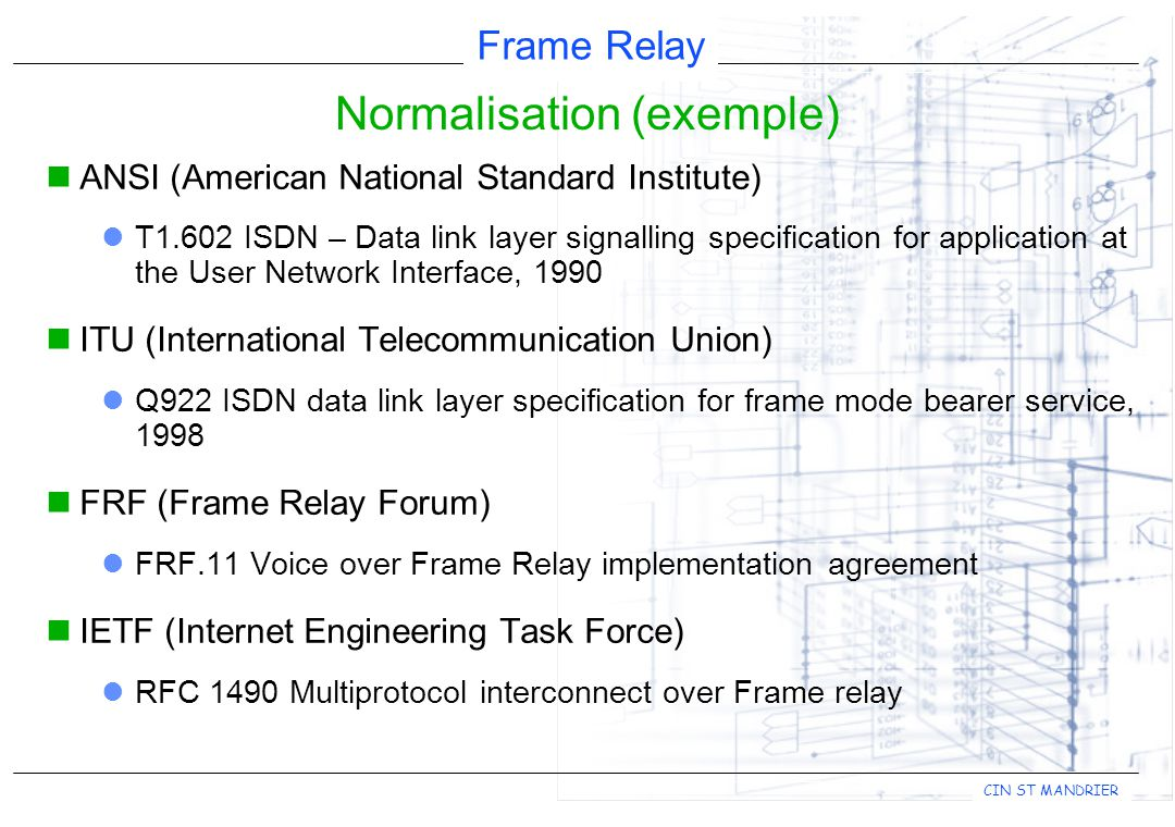 Frame Relay CIN ST MANDRIER  ANSI (American National Standard Institute)  T1.602 ISDN – Data link layer signalling specification for application at