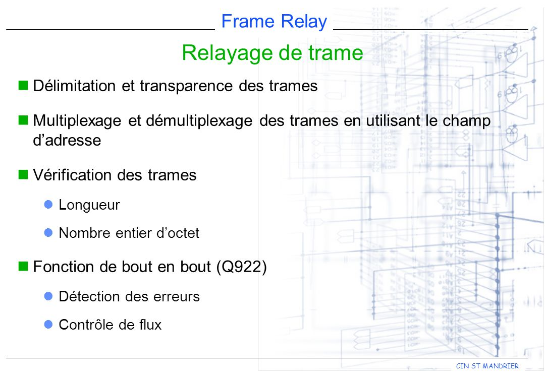 Frame Relay CIN ST MANDRIER Comparaison Commutation de paquet X.25 Commutation de trames Relayage de trames TransparenceOUI Existence d'un CRCOUI Contrôle d'erreursOUI NON Contrôle de fluxOUI NON Reprise et redémarrageOUINON