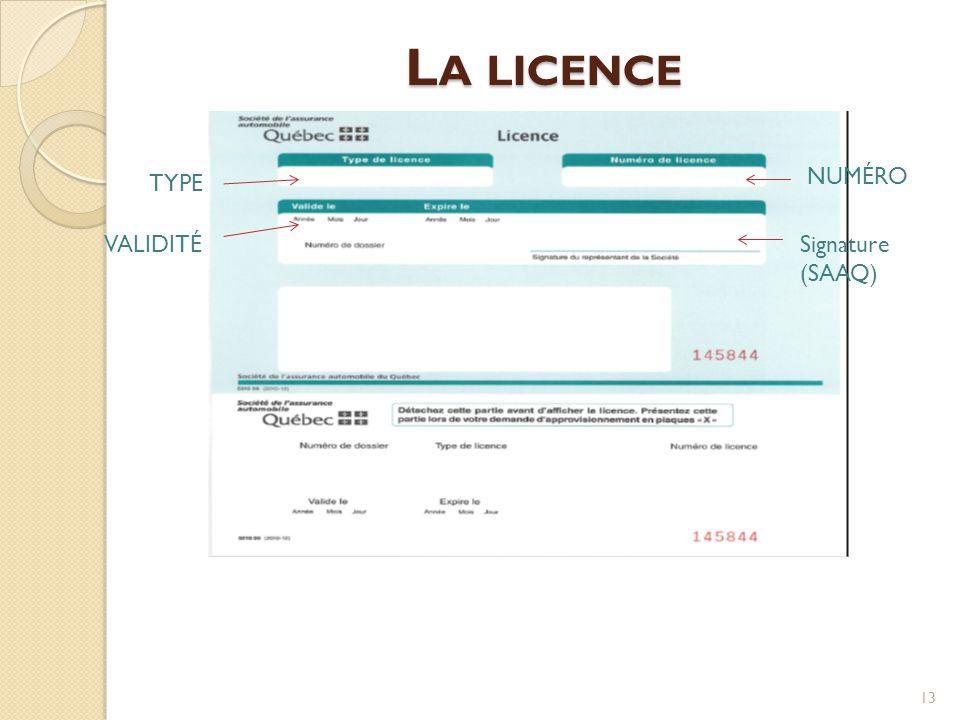L A LICENCE 13 TYPE NUMÉRO VALIDITÉ Signature (SAAQ)