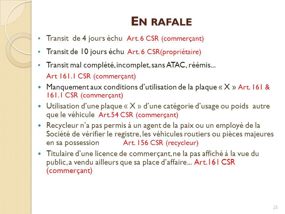 E N RAFALE  Transit de 4 jours échu Art. 6 CSR (commerçant)  Transit de 10 jours échu Art. 6 CSR(propriétaire)  Transit mal complété, incomplet, sa